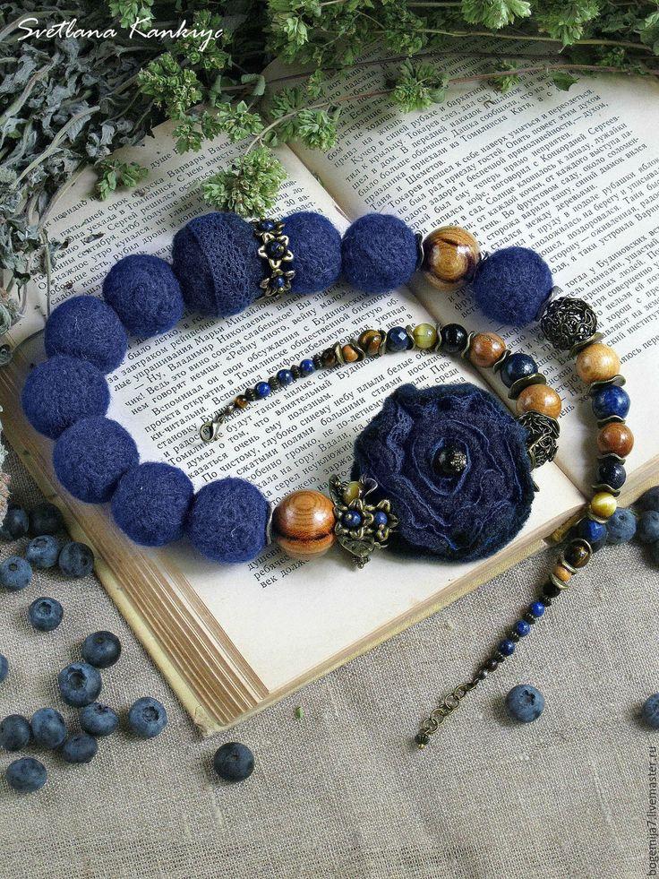 """Купить Бусы """"Черничный пай"""" с натуральными камнями - бусы, с натуральными камнями, украшение, украшения"""
