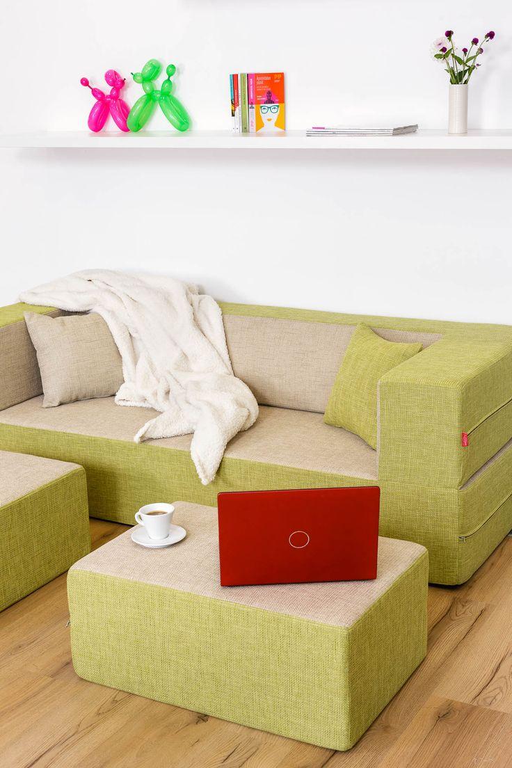 Biscuit Modular Sofa / Color: Amaretto+Green Tea #modular #sofa #sofabed #cool #comfort #creative #foam #colourful #young #interiordesign #home