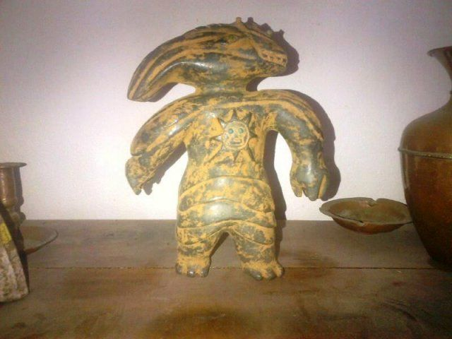 According to the Spanish speaking site La Caja De Pandora this ancient figure was discovered in April, 2014 near a reservoir of the Sierras of Jalisco (Mexico). Read more: http://www.messagetoeagle.com/reptilianhumanoidmexico.php#ixzz30D2A5C8p