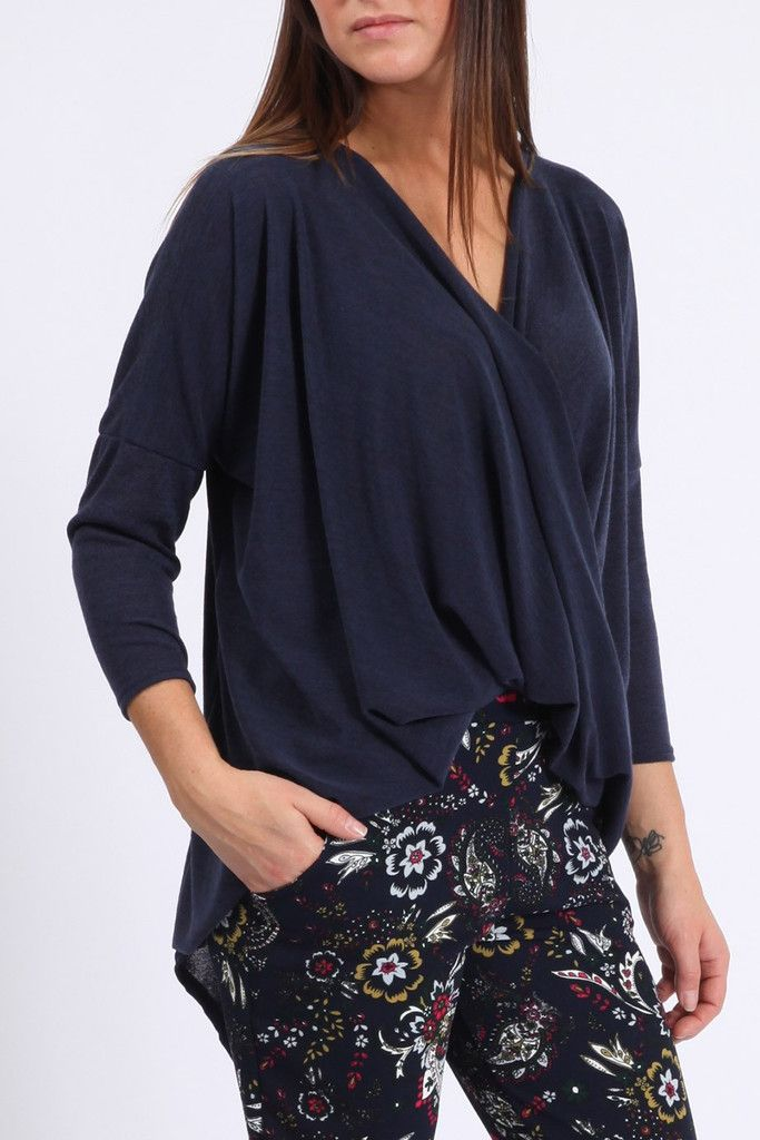 Navy Blue Crossover Top