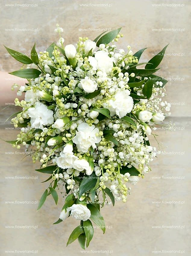 Stunning Teardrop/Cascading Wedding Bouquet Arranged With: White Lily Of The Valley, White Gypsophila (Baby's Breath), White Carnations + Green Foliage