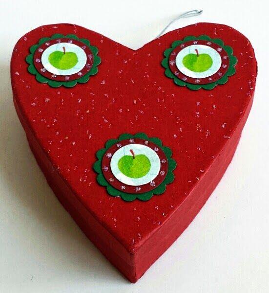 Herz, Box, Verpackung, Äpfel, Serviettentechnik
