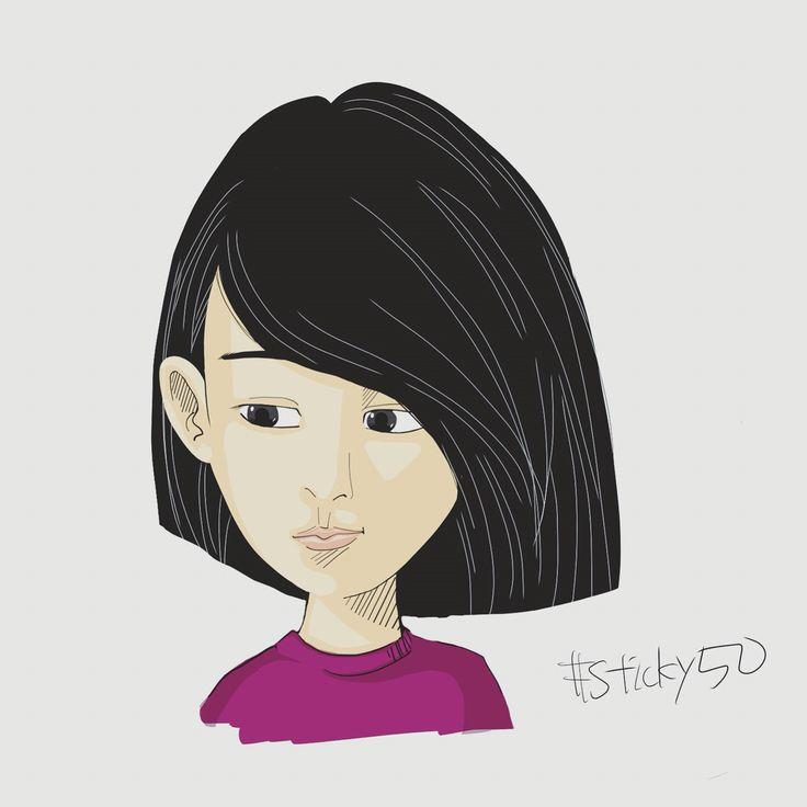 #sticky50 試作その39「顔小さい娘」目を大きく顔を小さくしてみる