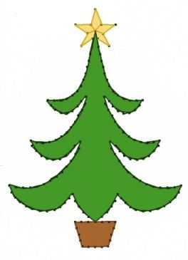 Christmas Tree Embroidery Pattern for Greeting Cards by Darse, $1.50