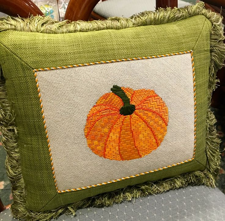 needlepoint pumpkin pillow