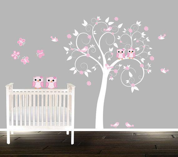 Girls Pink Nursery Decal, Butterflies Birds Owls, Tree Decal, Owl Wall  Decals, Part 41