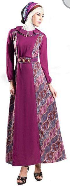 Model Baju Gamis Batik Kombinasi Terbaru