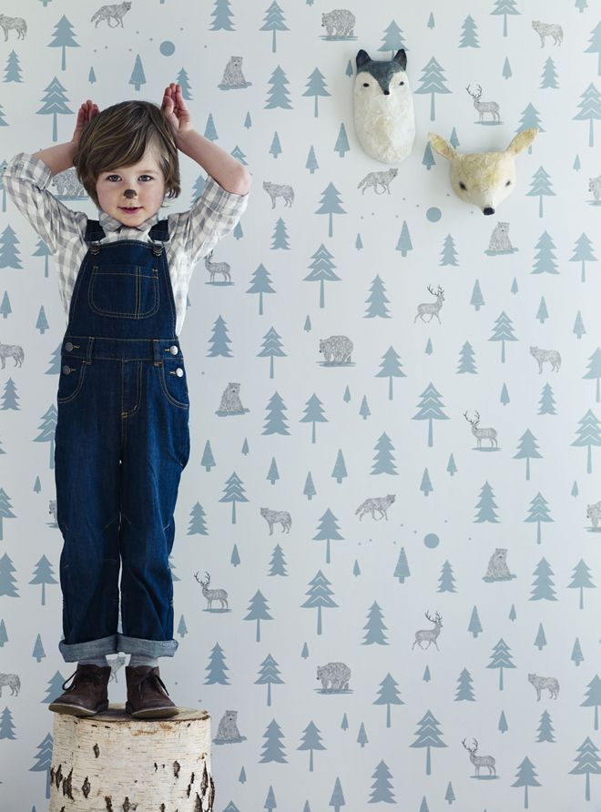 on the wall, wallpaper, children's wallpaper, into the wild wallpaper, bear wallpaper, stag wallpaper, wolf wallpaper, Hibou Home, published by Bobby Rabbit