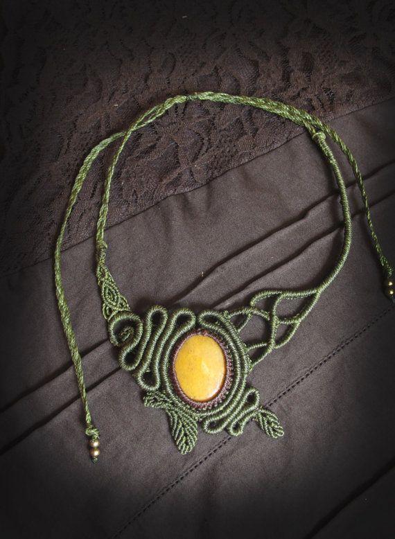 macrame necklace with yellow jasper  gemstone. Goddess necklace. Bohemian jewelry. Micro macrame. earthy jewelry. steampunk jewelry
