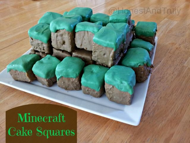 Love Minecraft? If you want to make a Minecraft cake, try Minecraft cake squares that are easily portable and don't make a mess to eat. They're the perfect size for little Minecraft lovers and look so cool when built into a scene!