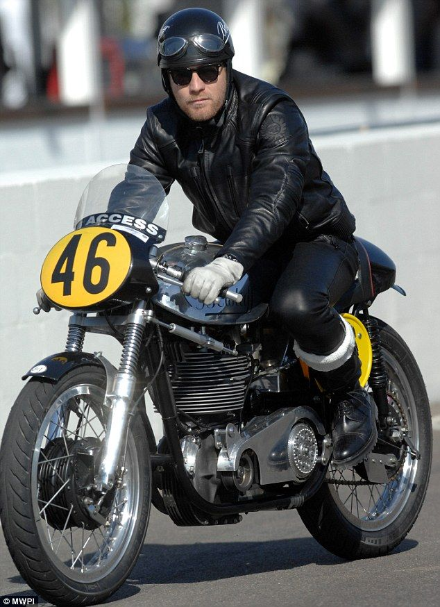 Get your motor running: Ewan McGregor rode a vintage motorcyle as he attended the Goodwood Revival 2012
