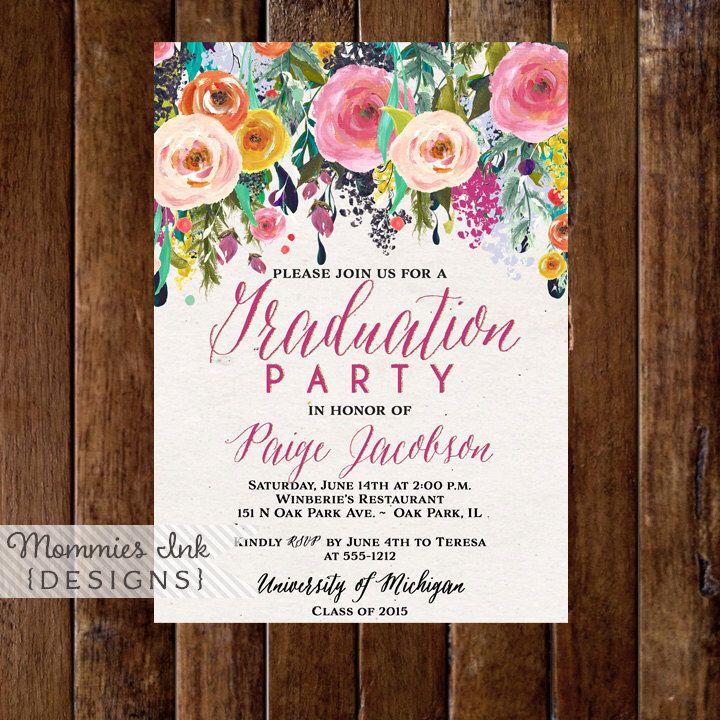 sample open house graduation party invitations%0A Graduation Party Invitation  Watercolor Flowers Invitation  Floral  Invitation  Class of Open House Invite  Commencement Invitation