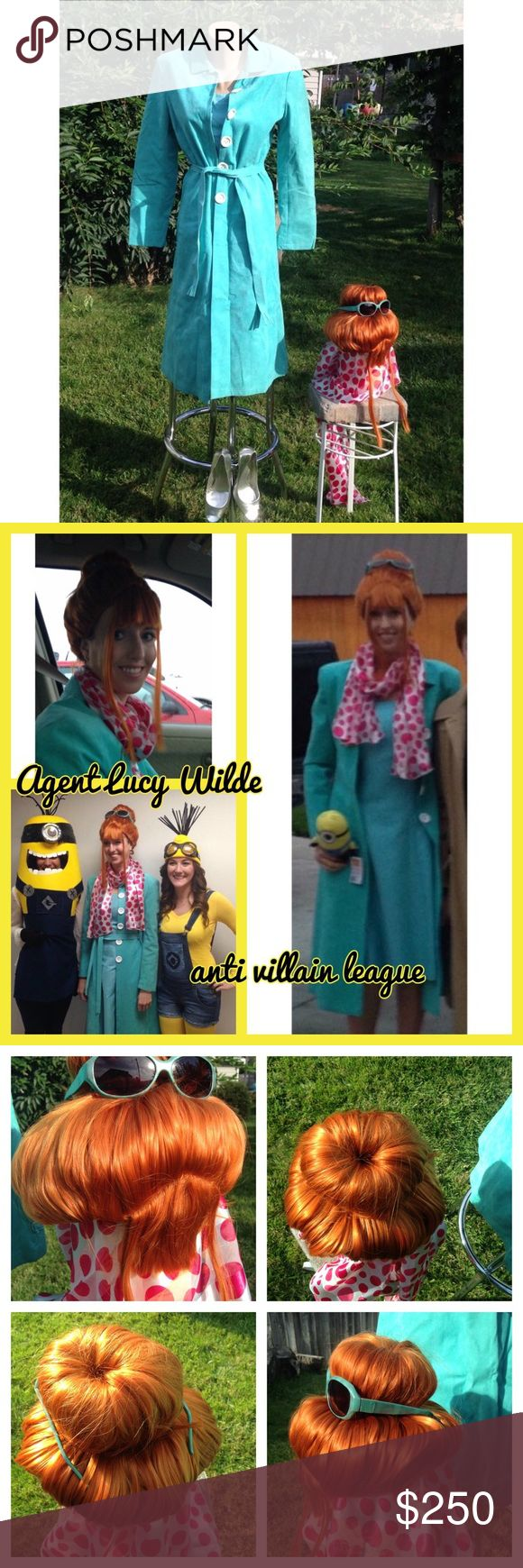 Agent Lucy Wilde Minions Halloween Costume Cosplay Agent Lucy Wilde Minions Complete Halloween Cosplay Costume size women's small. Vintage micro suede jacket with custom buttons. Ann Taylor Tiffany blue dress size 4. Silver Nine West heels size 8. Scarf, wig, sunglasses & AVL Badge included. See separate listing for more pictures ☺️ Handmade Dresses