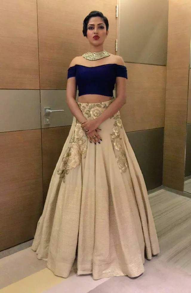 by MehakkSharma-Beautiful halter neck blouse with ethnic skirt