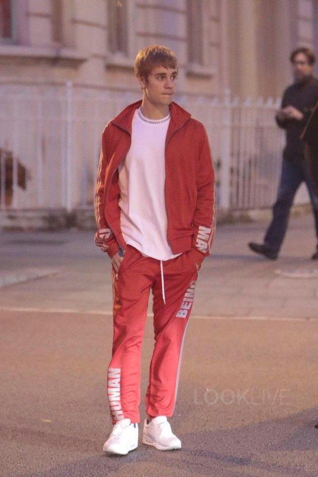 Justin Bieber wearing  Adidas Pharrell Williams 'Hu Race' Track Jacket, Supreme Rib Logo Athletic Top, Adidas Pharrell Williams 'Hu Race' Track Pants, Nike Air Max 1 Pinnacle Sneakers