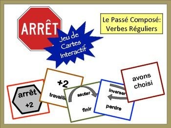 French Verb Review Card Game with Speaking: Regular Passé Composé (avoir)