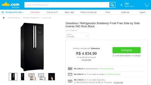 [Submarino] Geladeira / Refrigerador Brastemp Frost Free Side by Side Inverse 540 litros Black - de R$ 4.344,94 por R$ 4.254,79 (2% de…