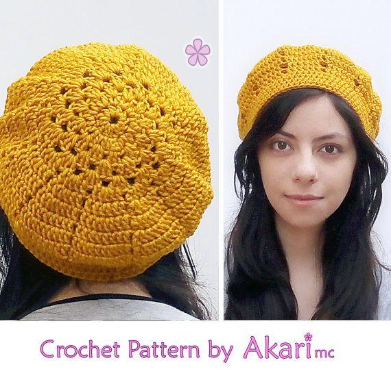 Crochet beret PDF pattern. Easy level door AkariCrochetPatterns
