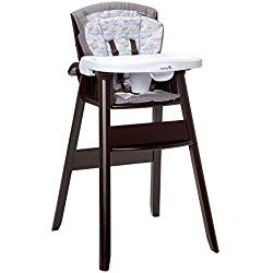 Dine, Recline Wood High Chair Gray/Brown