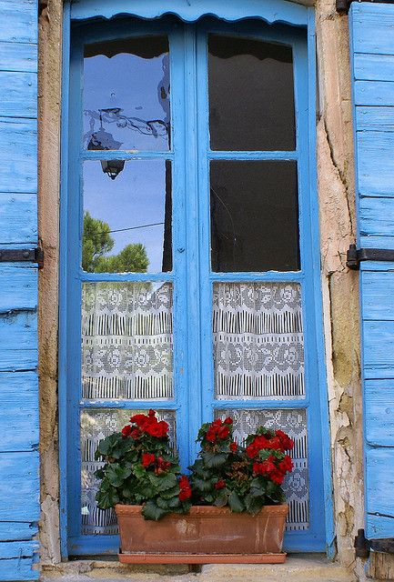 Blue Window In Provence Window 39 S And Door 39 S Pinterest
