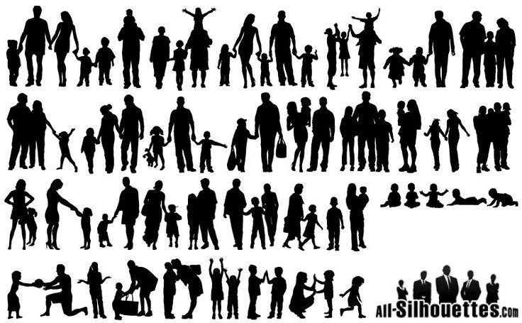 A Variety Of Happy Family Silhouette Vector Material