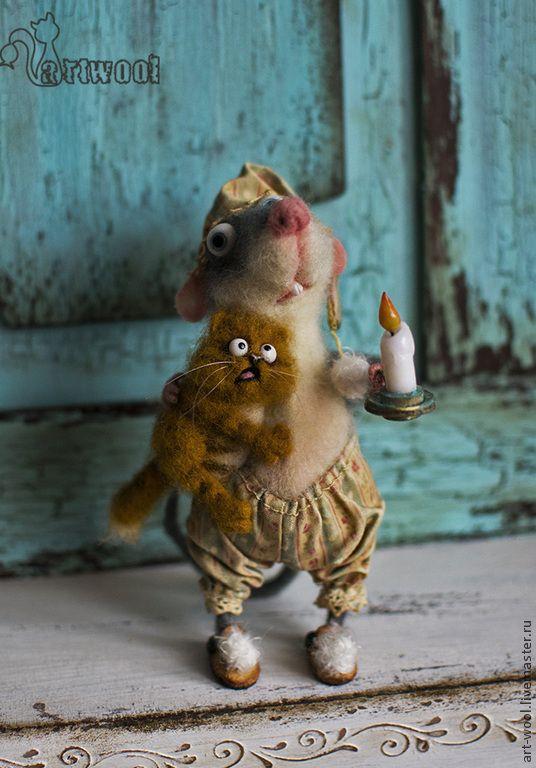 """Купить """"Не бойся, я с тобой!"""" - серый, крыс, крыса, мышь, кот, рыжий кот, рыжий"""