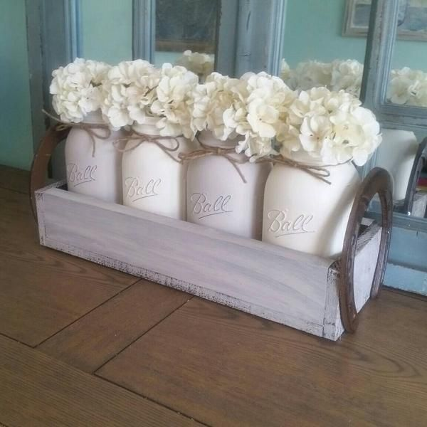 Mason jar centerpiece - Mason Jar table decor - Rustic Mason jar cente – Stacy Turner Creations