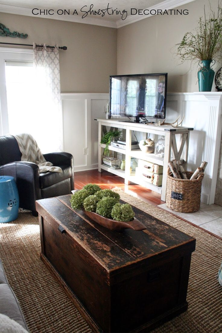 My Farmhouse Chic Living Room Reveal LOVE the trunk coffee table  12 best refinished rustic trunks images on Pinterest room