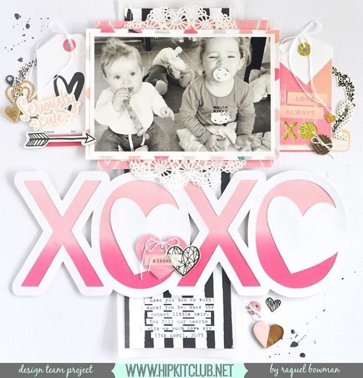 Hello Love this soft and bright LO created by designer @raquelp She used our #january2016 kits featuring @cratepaper @maggiehdesign Hello Love #january2016 #hipkits #hipkitclub #scrapbook #scrapbooklayout #papercrafting