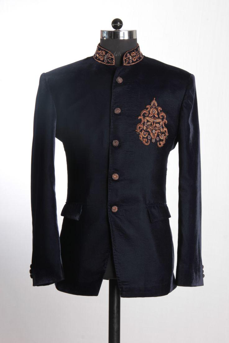 Black Bandh Gala with Brown Velvet Detailing