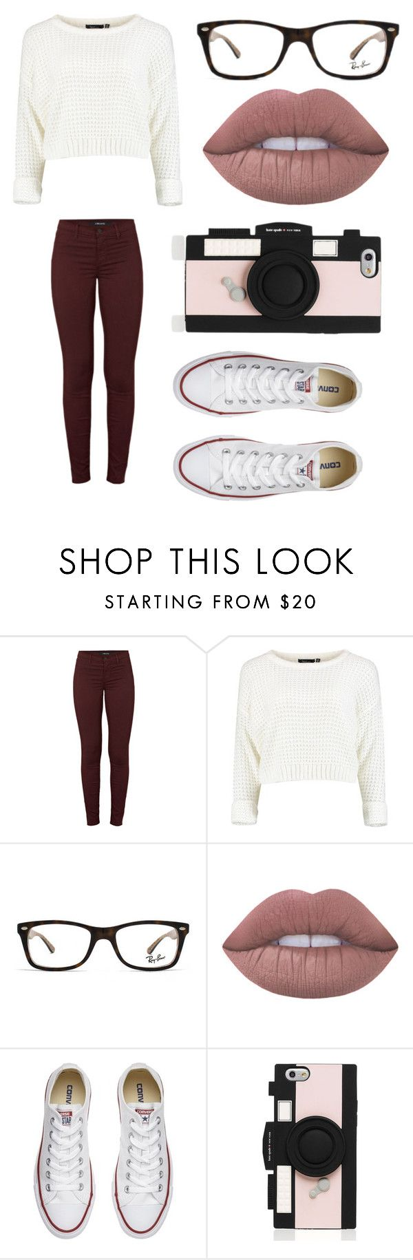 """""""Untitled #40"""" by marissaelizabeth13 ❤ liked on Polyvore featuring J Brand, Ray-Ban, Lime Crime, Converse and Kate Spade"""