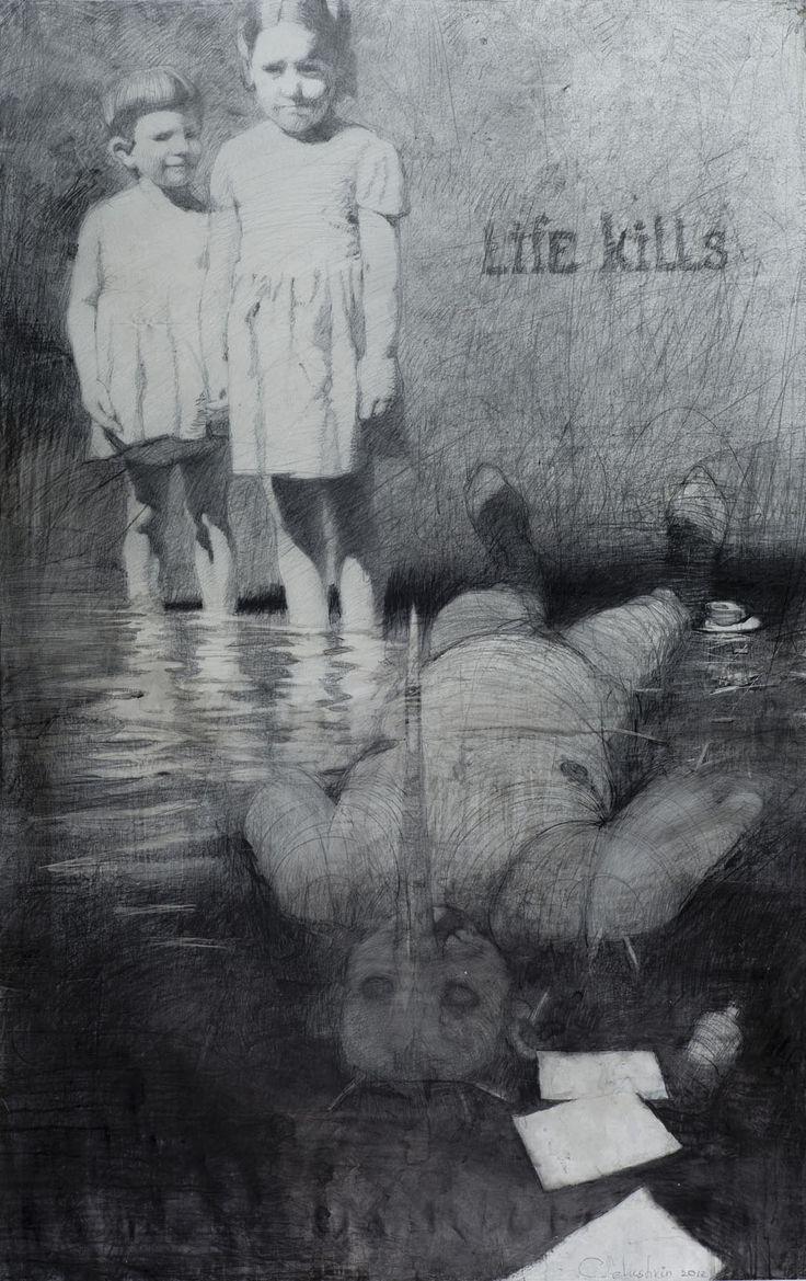 Kirill Chelushkin (b. 1968, Moscow, Russia) - Life Kills, 2012  Drawings