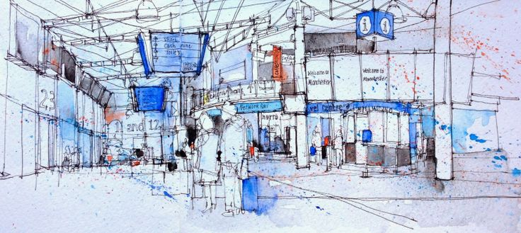 Urban Sketchers: Piccadilly Station, Manchester
