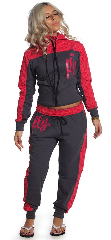 FLY. Worldwide Zip-Up Outfit: PINK/GREY