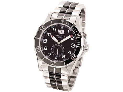 "Michel #Herbelin ""Newport"" men's stainless steel diver's #watch with screw down crown, rotating bezel, date and water reisistant to 200 metres. 