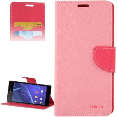 Mercury Leather Case Θήκη Πορτοφόλι Ροζ (Xperia M2) - myThiki.gr - Θήκες Κινητών-Αξεσουάρ για Smartphones και Tablets - Χρώμα ροζ με ροζ δέστρα