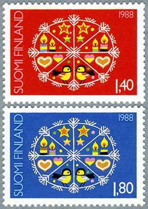 ◇Finland  1988 I've a brooch with this stamp in it, the red one,  under glass and soldered at the edges. Should remember to wear it around the holidays.