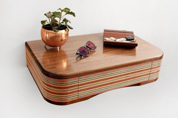 Floating Shelf made from walnut and recycled skateboards