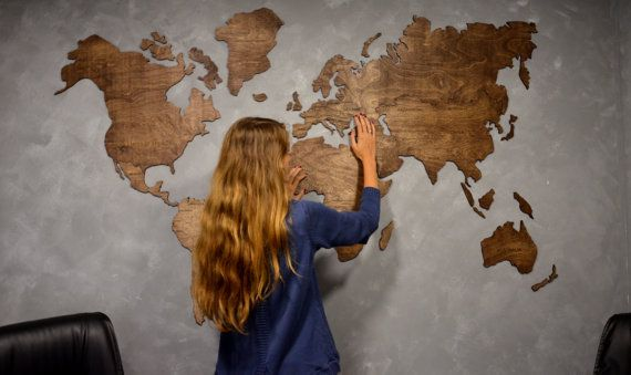 Wooden World Map Large Map of the World Travel map Wall world map Rustic Home decor Office decor Wall decor Dorm Living room Interior design