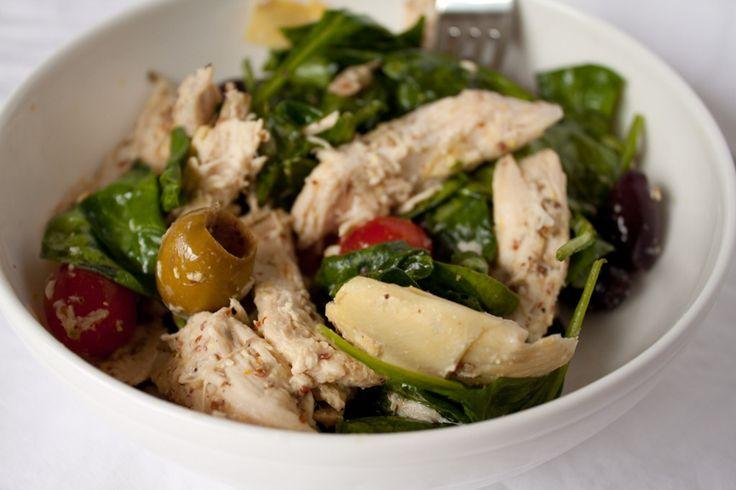 If you like lemon, garlic, feta, artichokes and olives.......chicken artichoke salad - no mayo, no pasta.