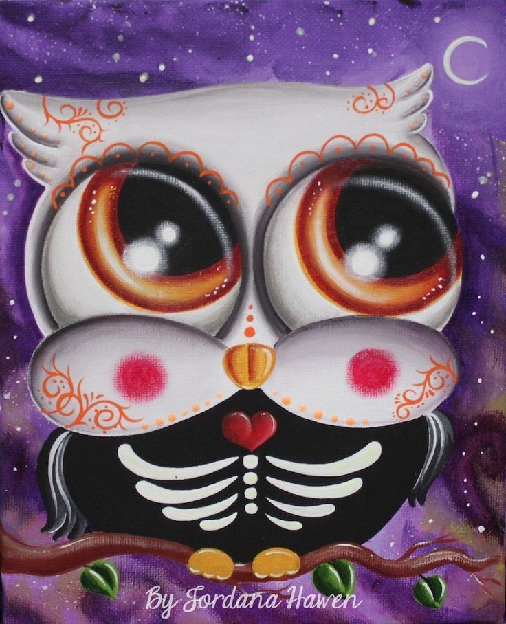 Day of the dead owl Day of the dead painting Day of the dead art Sugar skull owl. SOLD.