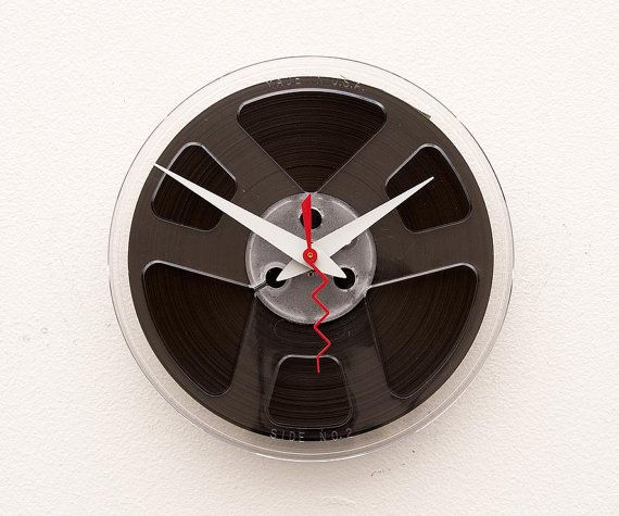 Clock made from a recycled magnetic tape reel by pixelthis on Etsy, $28.00