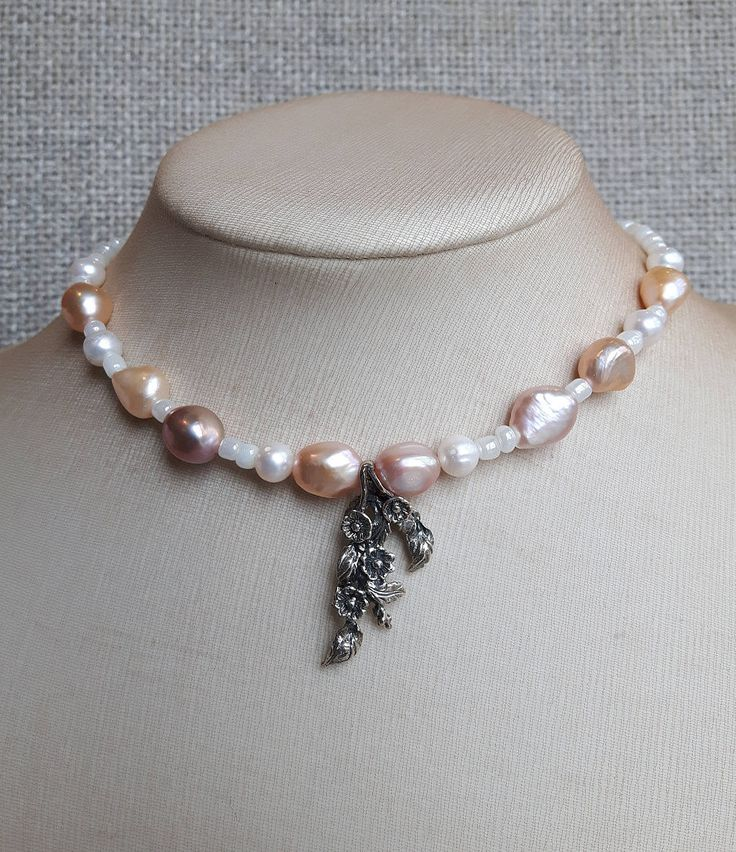 Excited to share the latest addition to my #etsy shop: White and rose gold pearl necklace with 925 silver pendant,Beach wedding,Bridal necklace,Bridesmaid necklace,Bridal choker,Gift for mother http://etsy.me/2EJRLWd #jewelry #necklace #white #hook #pearlshell #no #gir