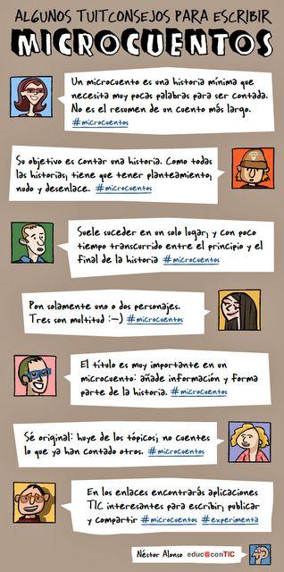 Consejos para escribir microcuentos, viñeta de Néstor Alonso
