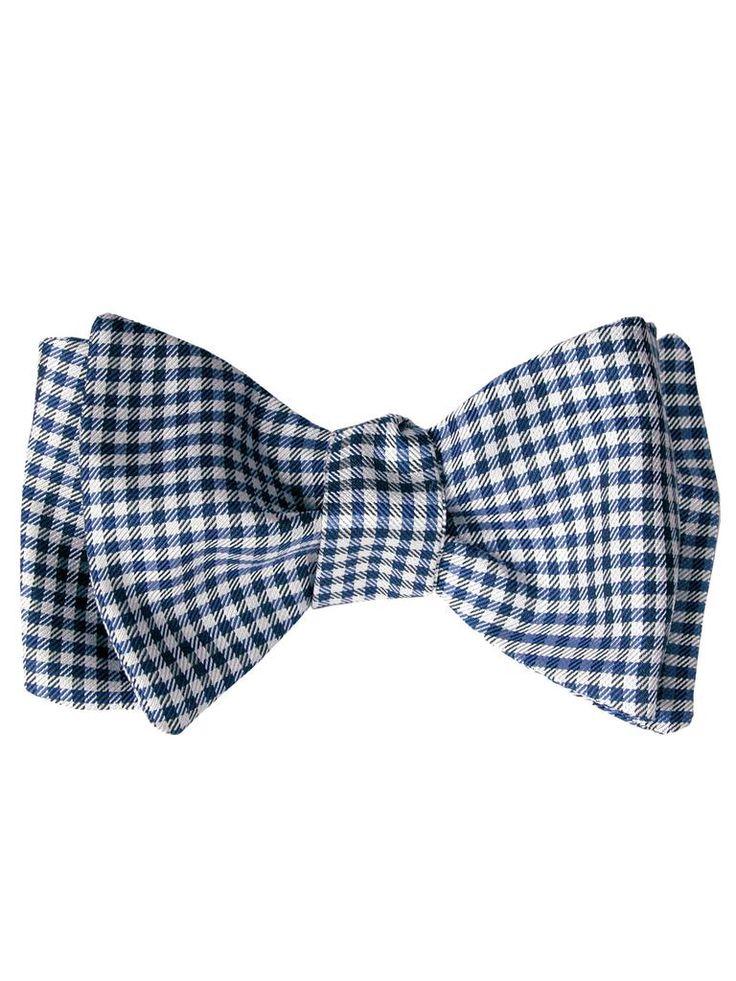 Arc Auto-cravate De Soie Cravate - Motif Vichy Encoche Noire, Jaune Et Bleu