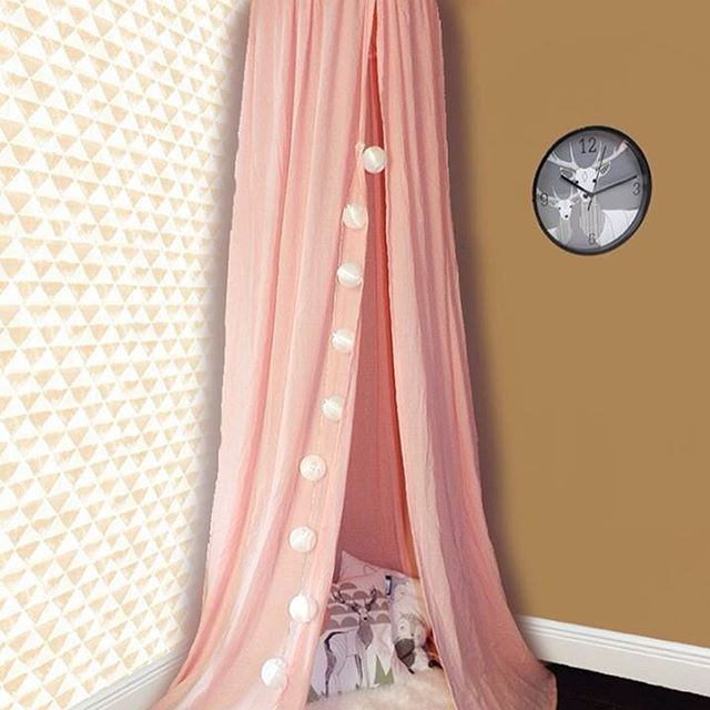 In #love with this #pink 🌸#canopy only by #teepeelicious #teepee for a #dream #nurserydecor #handmade #kidsroomdecor #wallpaper #wallcovering #clock #stringlights #sheepskin #pillows #cushions #feathers