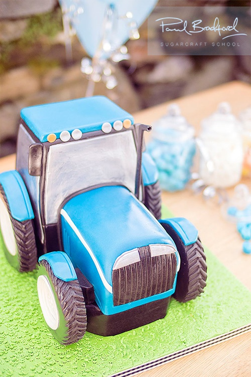 The Tractor Cake  Perfect for wee boys Birthdays Learn to make it at www.designer-cakes.com