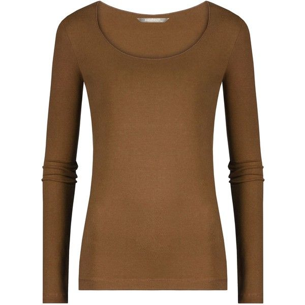 Sandwich Long sleeve T-shirt ($20) ❤ liked on Polyvore featuring tops, t-shirts, shirts, long sleeve tops, sweaters, brown, clearance, long-sleeve shirt, scoop neck tee and long sleeve t shirt