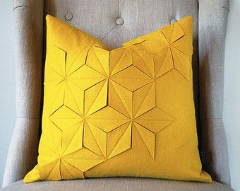 "Geometric Golden Yellow Wool Felt 18""x18"" Pillow"