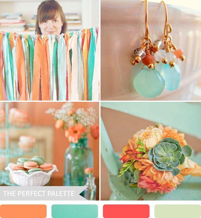 Party Palette | Orange, Aqua, Coral Rose + Light Sage! http://www.theperfectpalette.com/2013/06/party-palette-orange-aqua-coral-rose.html